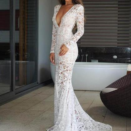 Sexy Deep V Neck Lace Slit Mermaid ..