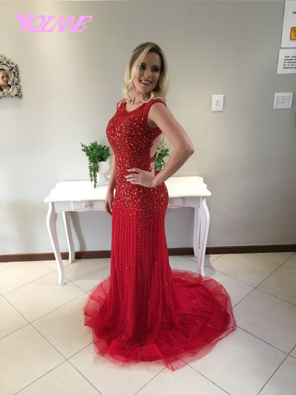 Red Rhinestones Prom Dresses Mermaid Backless Evening Dress