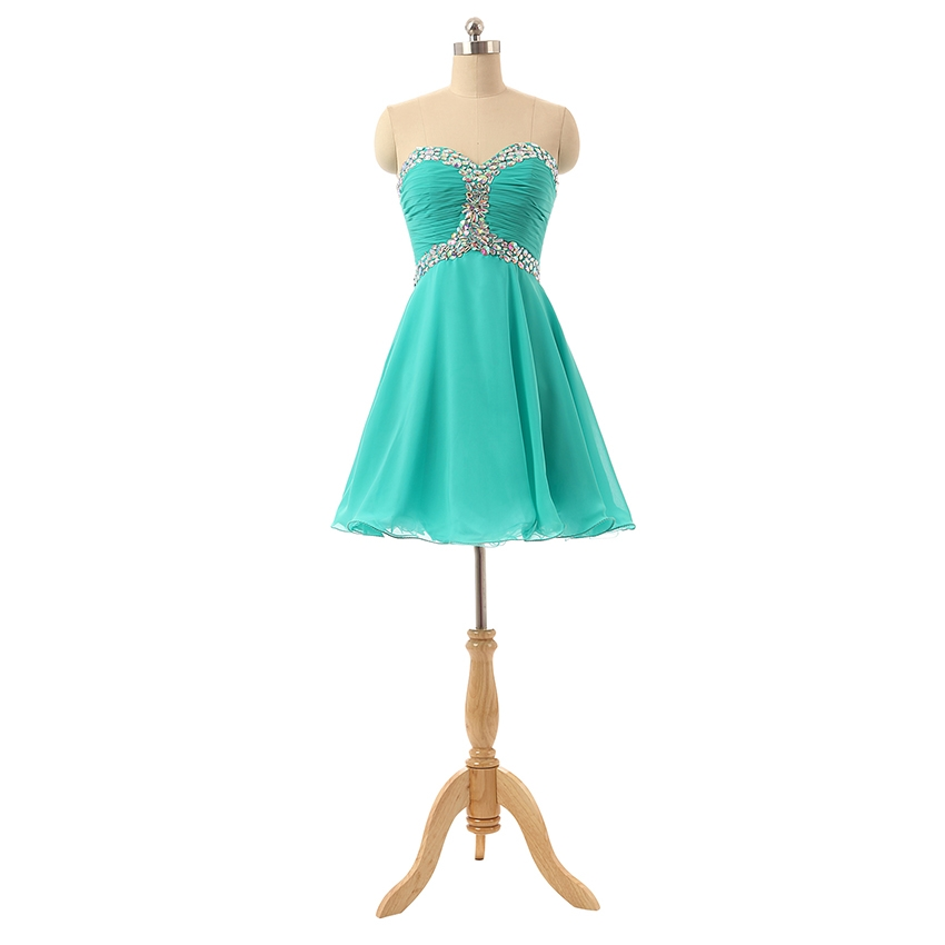 Sexy Short Homecoming Dresses Sweetheart Mint Tulle Crystals Party Dress