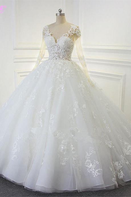 Bridal Dresses,White Wedding Dresses,Ball Gown Wedding Dresses,Bridal Gowns,Wedding Gown,Full Sleeve Wedding Dresses,V Neck Wedding Dresses,Lace-up Wedding Dresses,Organza Wedding Dresses