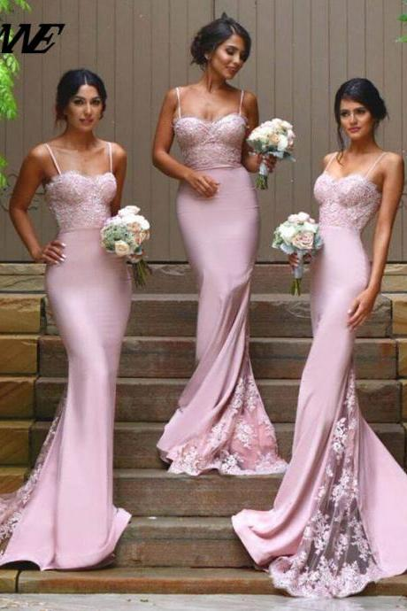 Pink Bridesmaids Dresses,Spaghetti Dresses,Wedding Party Dress,Mermaid Bridesmaids Dresses,Elegant Bridesmaids Dresses,Formal Women Dress