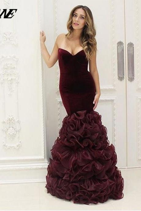 Wine Red Dresses,Velvet Prom Dresses,Sweetheart Prom Dress,Mermaid Prom Dress,Ruffles Dresses,Burgundy Prom Dress,Evening Gown,Evening Dress 2017