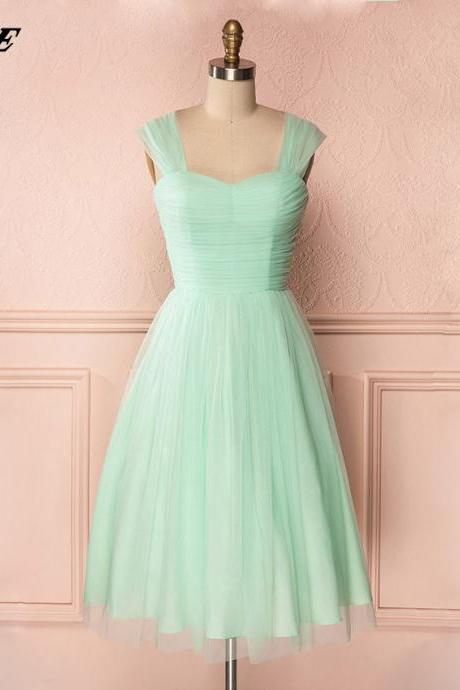 Mint Bridesmaids Dresses,Tea Length Bridesmaids Dresses,Wedding Party Dress,Tulle Dresses