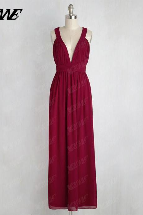 Dark Red Bridesmaids Dresses,Long Bridesmaids Dresses,Chiffon Bridesmaids Dresses,Deep V-Neck Dress,Wedding Party Dress