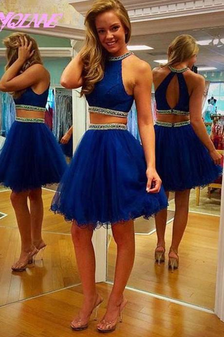 Two Pieces Short Homecoming Party Dresses Royal Blue Tulle Crystals
