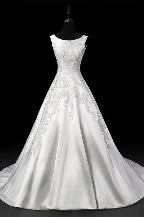 Vintage Ivory Satin Wedding Dress Aline Bridal Dresses Lace Appliques Sweep Train