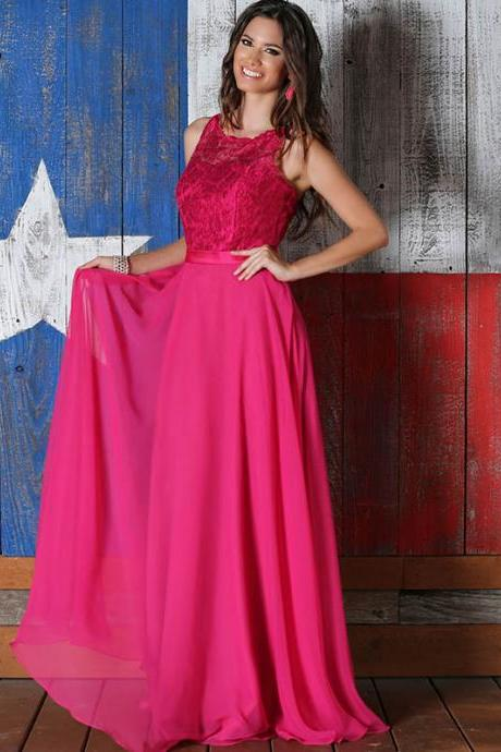 Rose Red Chiffon Bridesmaids Dresses Long Lace Bridemaid Wedding Party Dress