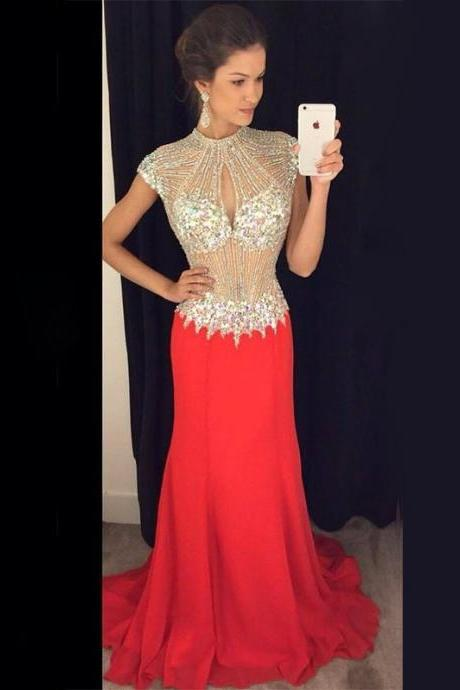 Gorgeous Red Crystals Prom Dresses High Neck Chiffon Beading Evening Gown Backless