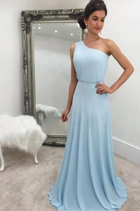 Sky Blue One Shoulder Chiffon Prom Dresses Long Party Dress