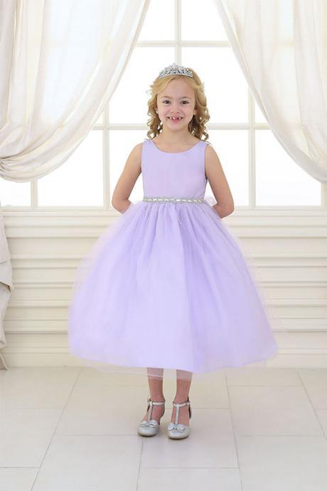Lilac Ball Gown Flower Girl Dresses Tulle Children Dress Tea Length