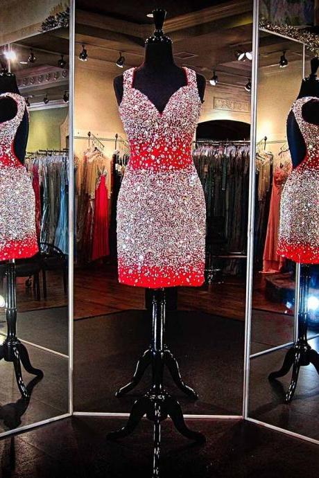 Gorgeous Red Crystals Beaded Prom Dresses Short Party Dress