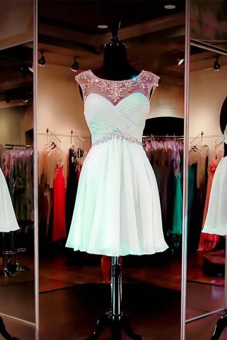 Mint Short Homecoming Dresses Crystals Beaded Chiffon Party Dress