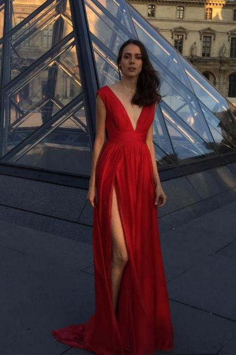 Sexy Deep V Neck Red Long Prom Dresses Chiffon Slit Party Dress