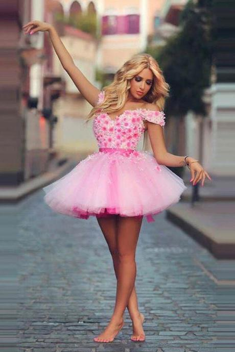 Sweet Short Pink Tulle Prom Dresses Off the Shoulder 3D Flowers Beaded Party Dress Lace-up Back