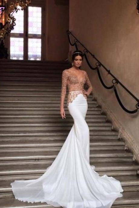Sexy Deep V Neck Gold Lace Appliques Long Mermaid Prom Dresses Evening Gown White Chiffon Dress