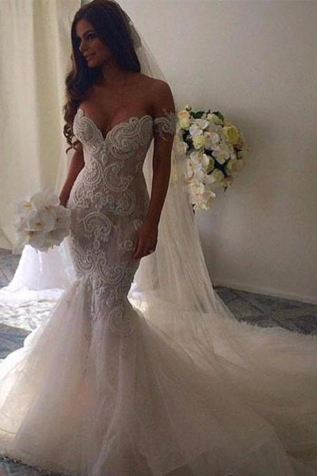 Romantic Off the Shoulder Mermaid Wedding Dresses Bridal Gown Backless