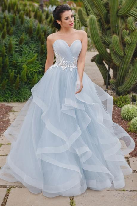 Light Blue Sweetheart Prom Dresses Tulle Formal Gown Lace-up