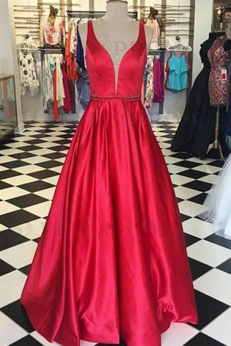 Red Deep V Neck Satin Prom Dresses Long Evening Gown