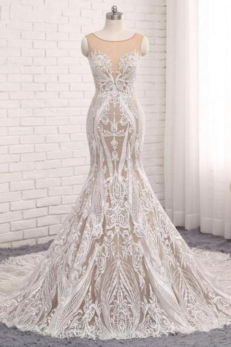 Sleeveless Sheer Luxury Lace Mermaid Wedding Dress Featuring Sheer Back and Long Train