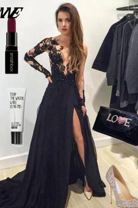Black Prom Dresses Full Sleeve Slit Party Dress Evening
