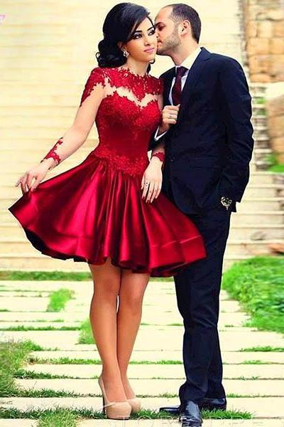 Red Short Prom Dresses Long Sleeves Party Dress Ckcktail Dress