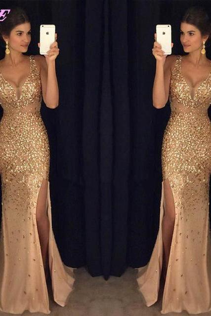 Gold Rhinestones Prom Dresses, Mermaid Dress