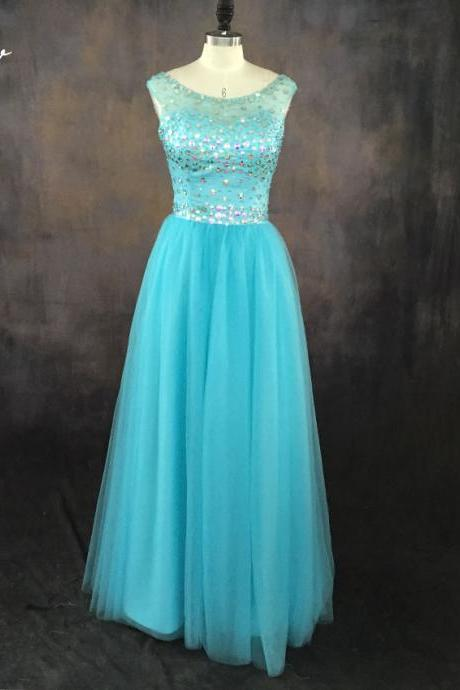 Blue Crystals Prom Dresses,Party Dress,Quinceanera Dresses