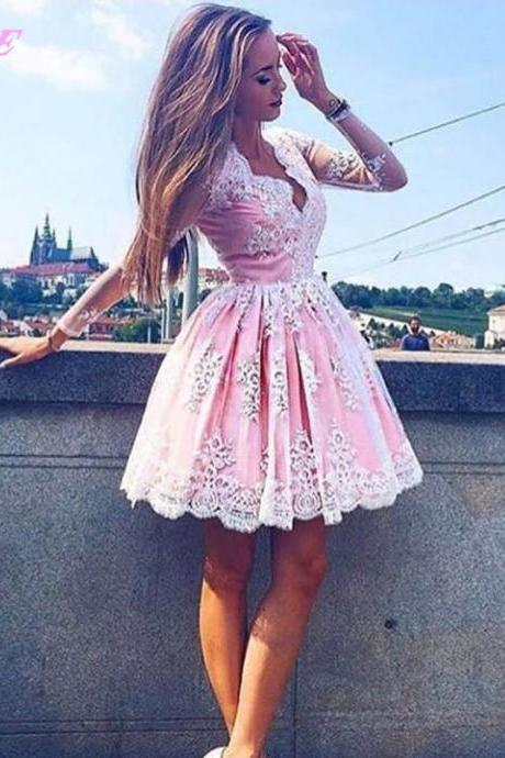 Cute Pink Ball Gown Prom Dresses Short Party Dress Full Sleeves Dresses