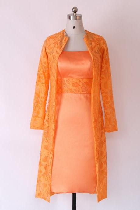 Orange Long Sleeve Mother of the Bride Lace Dresses,Formal Gown,Women Party Dress,Prom Gown,Lace Dresses