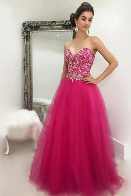 Beaded Embellished Sweetheart Floor Length Tulle A-Line Prom Dress, Formal Dress