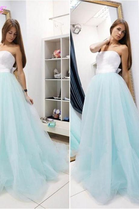 Strapless Prom Dresses,Sky Blue Prom Dresses,Simple Prom Dresses,Formal Gown,Long Prom Dresses,Women Dresses