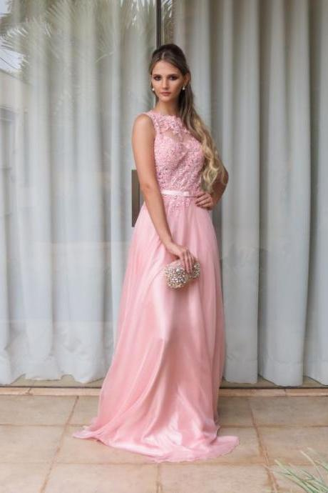 Prom Dresses 2017,Pink Prom Dresses,Chiffon Prom Dresses,Prom Gown,Formal Gown,Evening Gown,