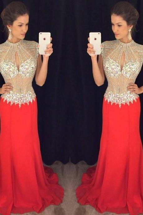 Red Dresses,Prom Dresses,Prom Gown,Crystals Prom Dresses,Mermaid Prom Dresses,Sexy Prom Dresses,Open Back Prom Dresses,Chiffon Prom Dress