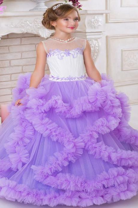 Ball Gown Flower Girl Dresses ,Beauty Pageant Gown ,Kids Dress ,Beading Tulle Dress,Vestido De First Comunion