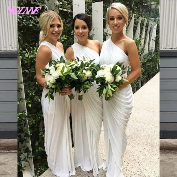 White One Shoulder Chiffon Bridesmaids Dresses Floor Length Wedding Party Dress