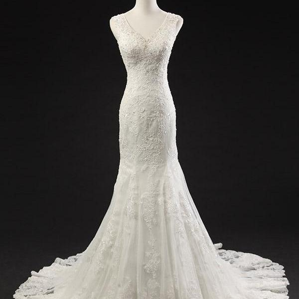 V Neck Lace Beaded Mermaid Wedding Dress Sleeveless Bridal Dresses