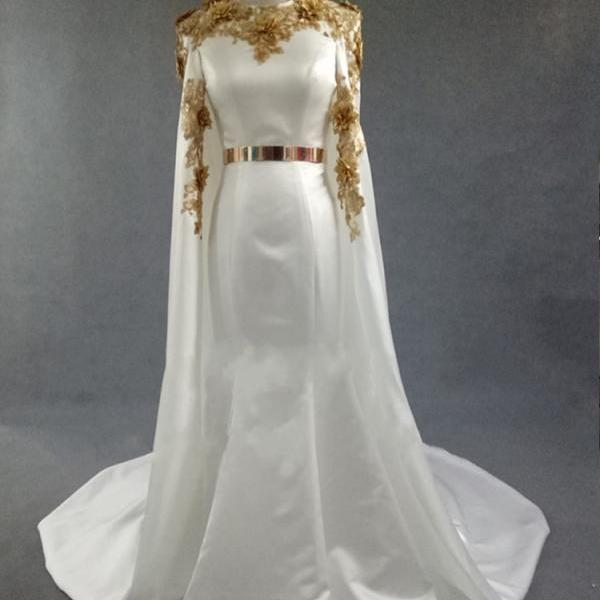 Stunning Gold Appliques Evening Dress Runway Fashion Red Carpet Dresses Beauty Pageant Gown