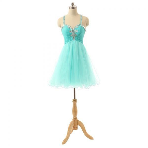 Sexy Mint Short Homecoming Dresses Spaghetti Tulle Crystals Party Dress