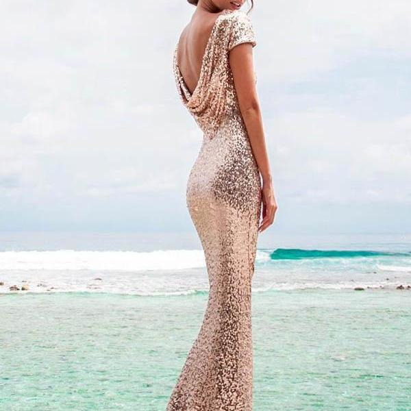 Gold Sequins Mermaid Bridesmaids Dresses Backless Wedding Party Dress