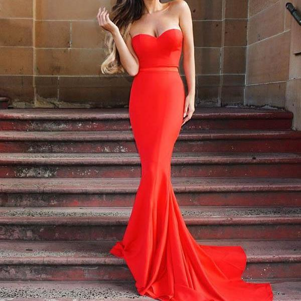 Red Mermaid Prom Dresses Long Sweetheart Elastic Satin Women Party Dress