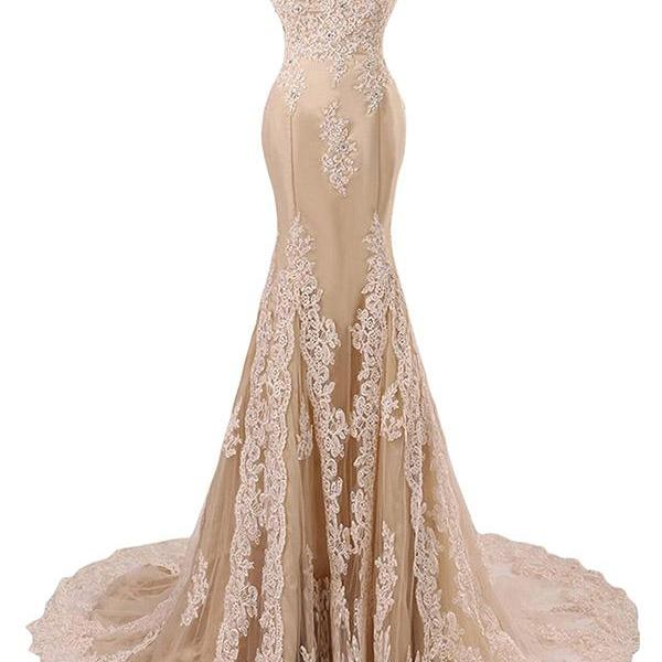 Lace Appliqués and Beaded Embellished Champagne Off-The-Shoulder Floor Length Mermaid Formal Dress, Prom Dress