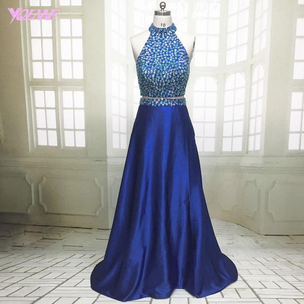 Two Pieces Prom Dresses,Royal Blue Prom Dresses,Long Prom Dresses,Crystals Prom Dresses,Prom Gown,Fashion Prom Dresses,Evening Gown,Red Carpet Dress