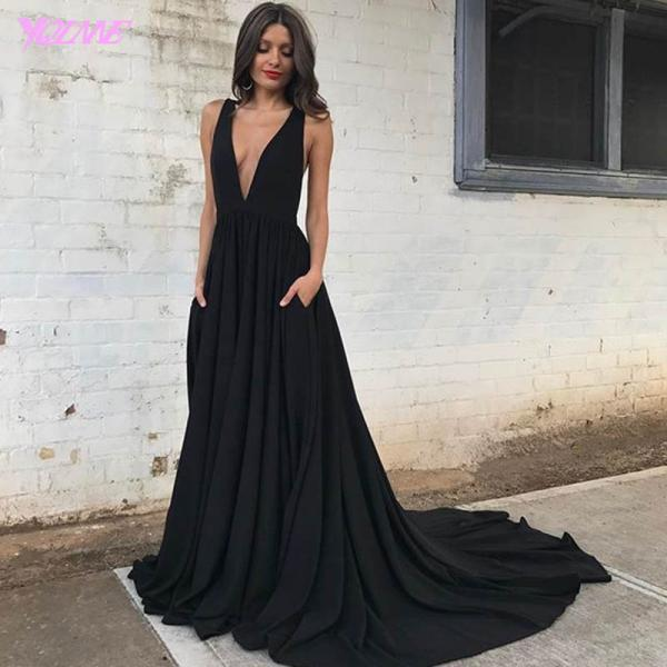 Sexy Prom Dresses,Prom Gown,Black Dresses,Deep V-Neck Prom Dresses,Fashion Dresses,Chiffon Prom Dresses,Runway Fashion Dresses, Red Carpet Dress