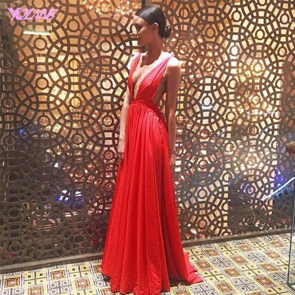 Red Dresses,Sexy Prom Dresses,Prom Gown,Deep V-Neck Prom Dresses,Fashion Dresses,Chiffon Prom Dresses,Runway Fashion Dresses, Red Carpet Dress